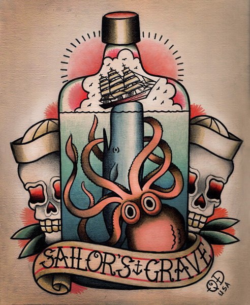 Nautical tattoo images designs for Sailors grave tattoo gallery
