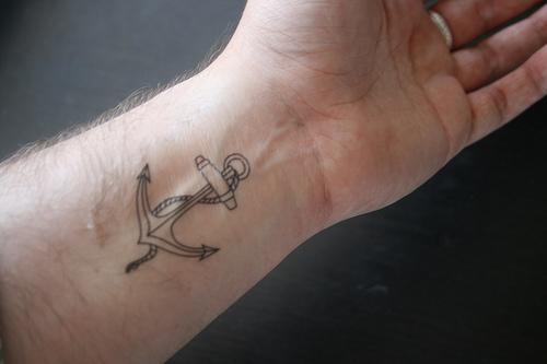 Simple Anchor Tattoo On Wrist