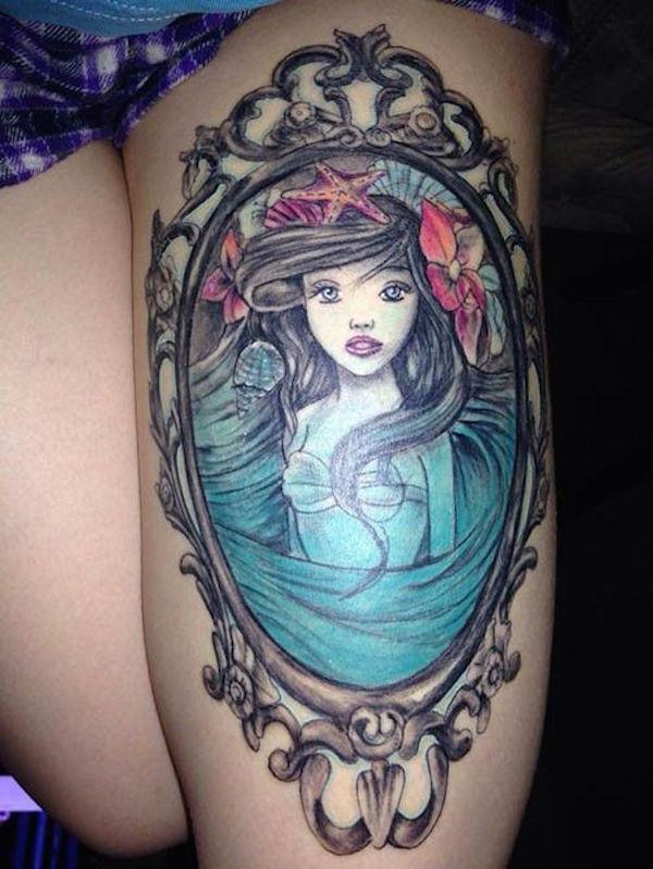 Traditional Mermaid Tattoo On Thigh