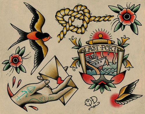 Traditional Nautical Tattoos Design Flash