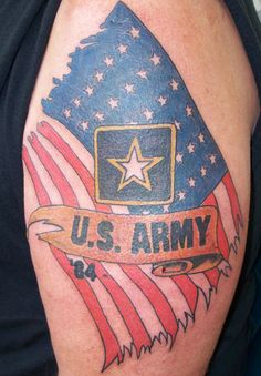 US Army Tattoo On Half Sleeve