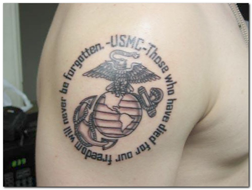USMC Military Tattoo On Shoulder