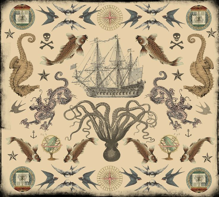 Vintage Nautical Tattoos Design Flash By Novelatelier On Etsy