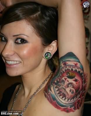 Bear Tattoo On Armpit