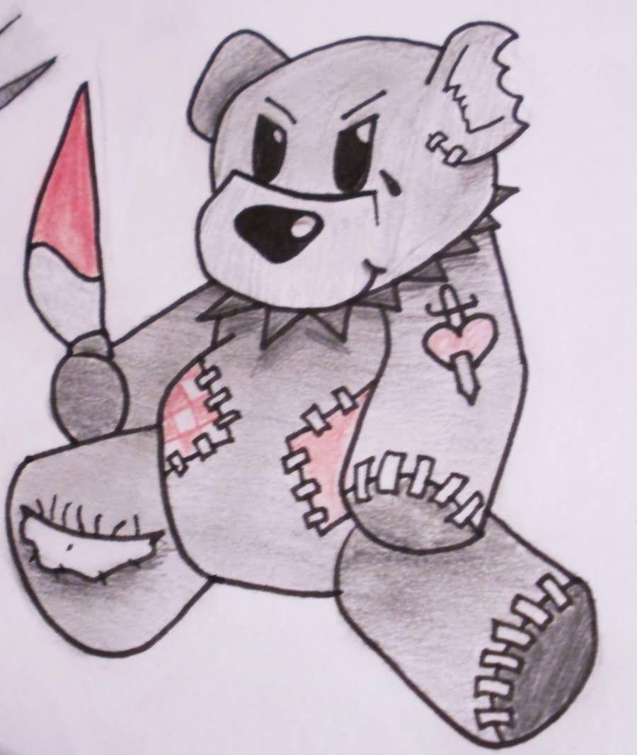 Teddy Bear Skull Drawing Teddy Bear Cute Tattoo Design