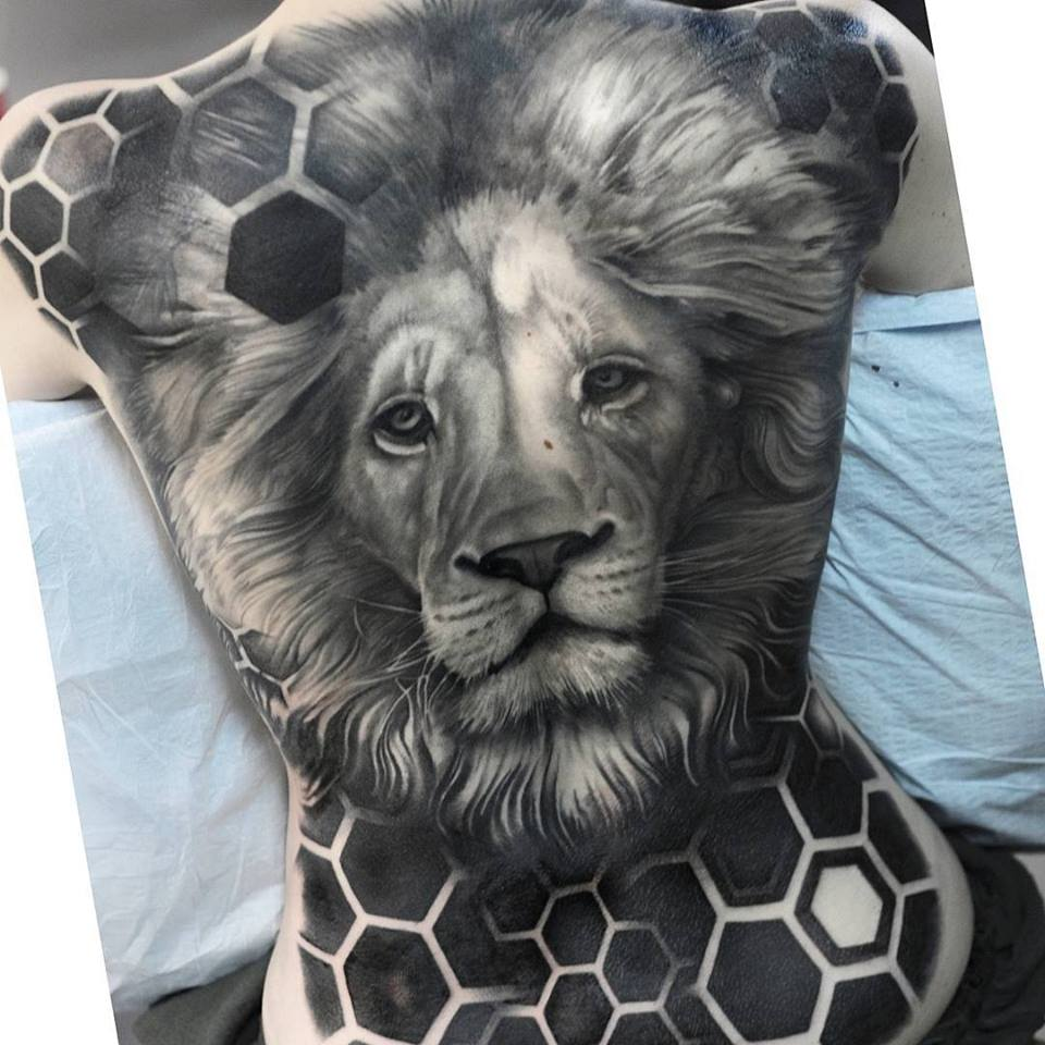 Back Piece Lion Tatt