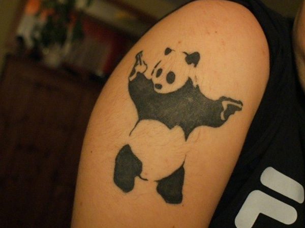 Banksy Panda With Guns Tattoo On Shoulder