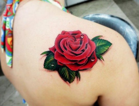 Beautiful 3D Rose Tattoo On Shoulder