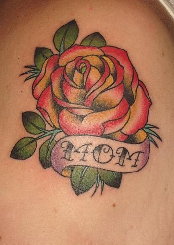 Beautiful Rose Flower With Mom Banner Tattoo