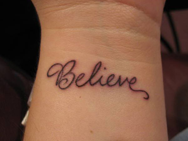 Believe Word Tattoo On Inner Wrist