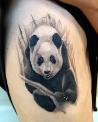 Black And White Panda Tattoo On Rib Cage