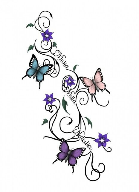 Butterflies And Flowers Vine Tattoo Design Wit