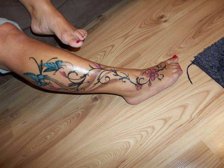 Butterflies With Swirl Flower Leg Tattoo