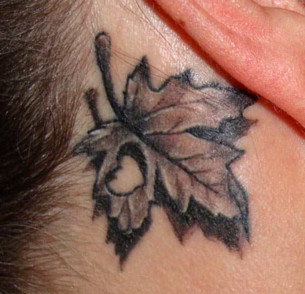 Canadian Maple Leaf Tattoo Behind Ear