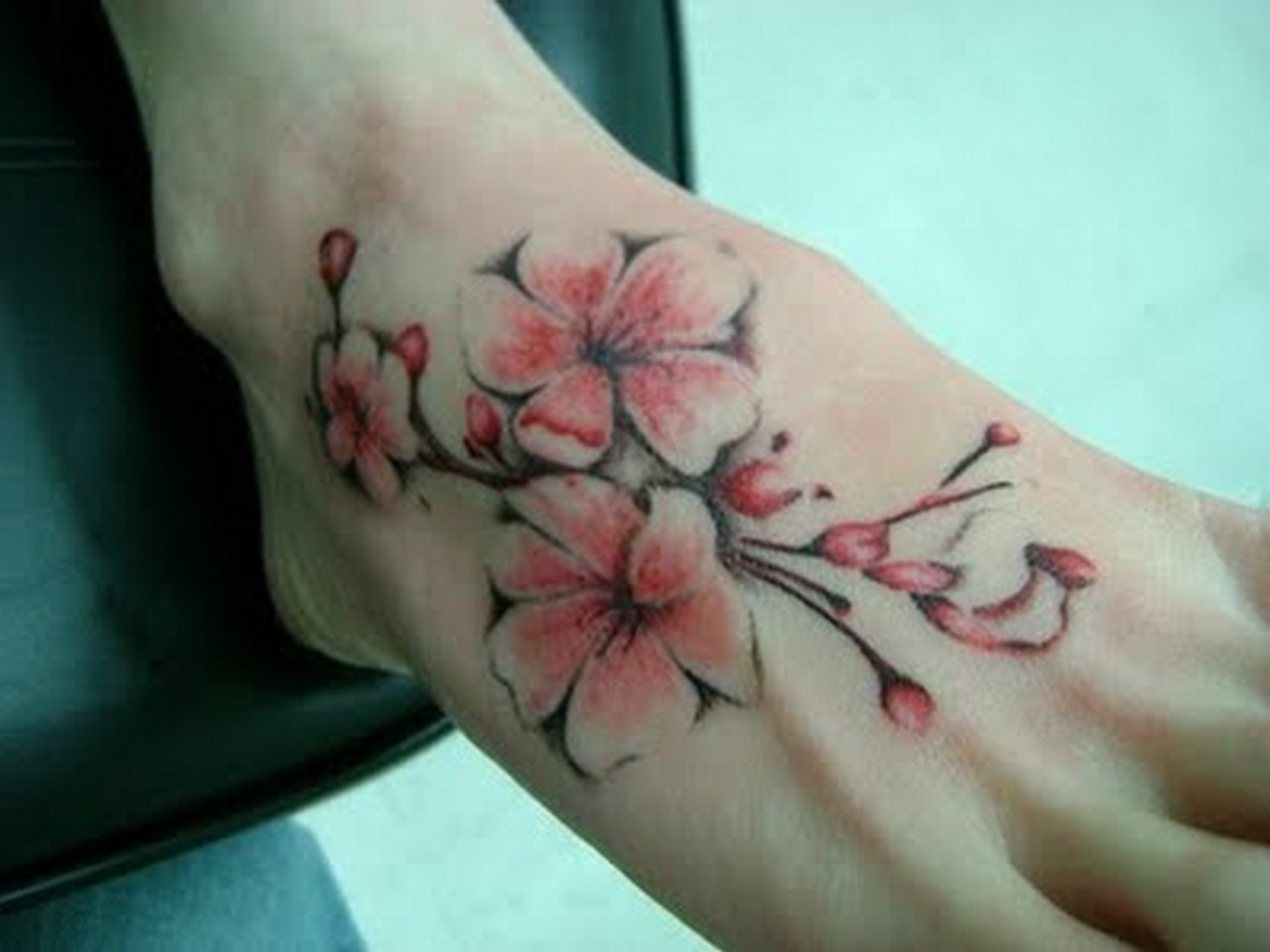Cherry Blossom Tattoo On Foot