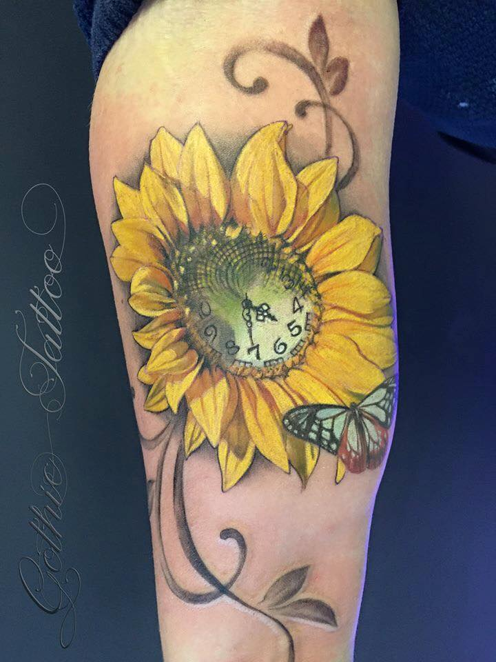 Clock In Sunflower Tattoo With Butterfly By Gothic Tattoo