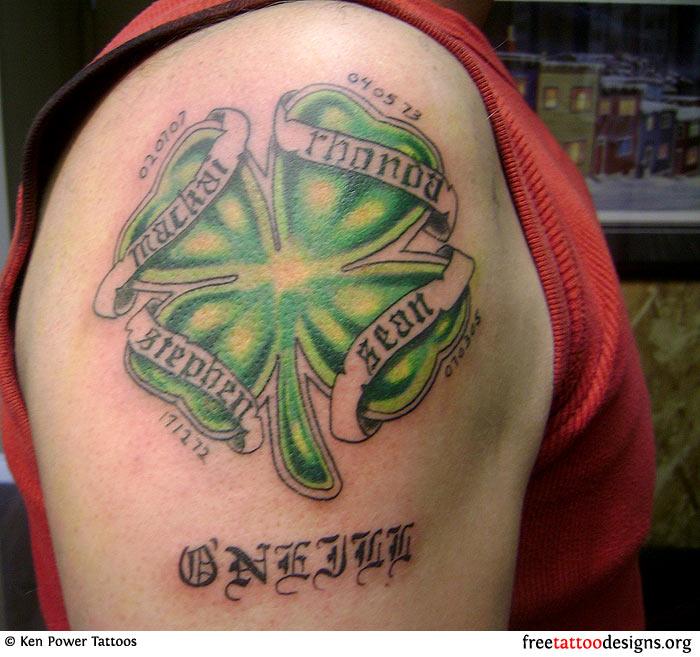 Clover Leaf Irish Tattoo On Shoulder