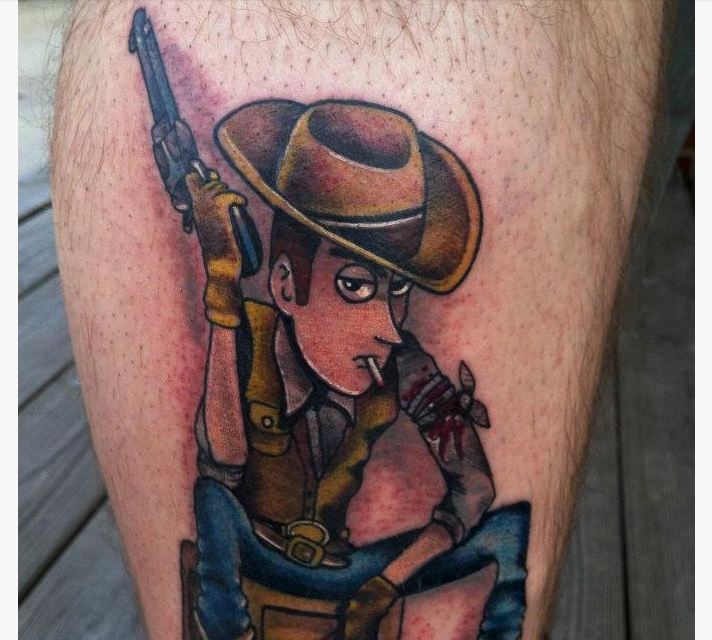 Color Cowboy Tattoos On Leg