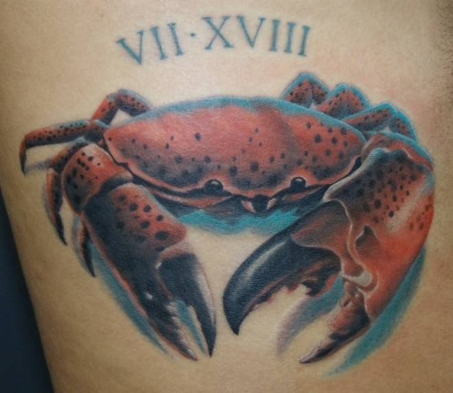 Color Ink Crab Tattoo Image