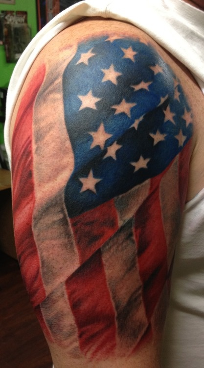 Color USA Flag Tattoo On Half Sleeve For Men