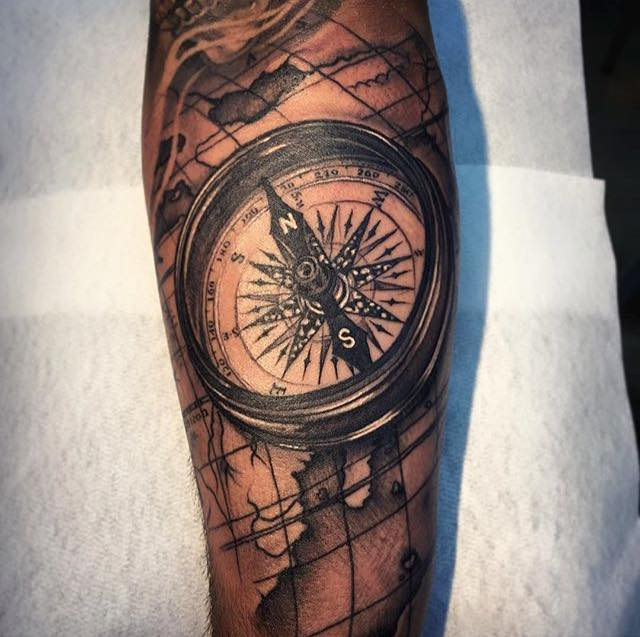 Compass Tattoo On Arm by Andy Blanco