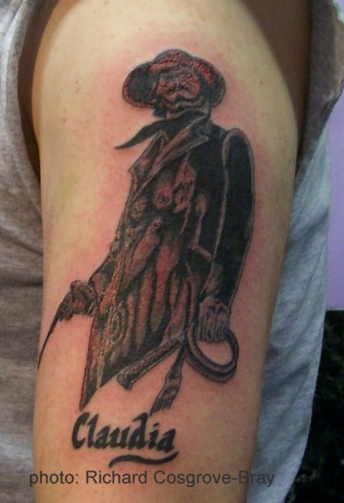 Cowboy Tattoo On Left Sleeve