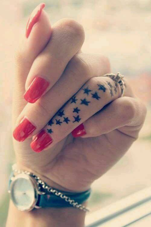 Cute Finger Tattoo With Black Stars