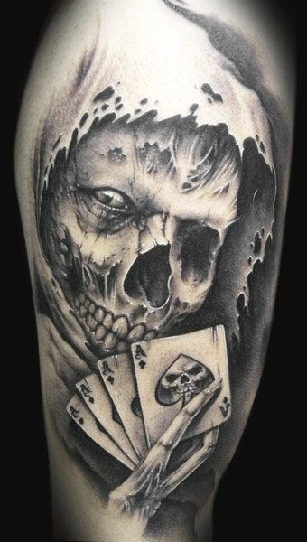 Devil Skull With Cards Tattoo Design