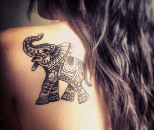 Elephant Tattoo On Back For Girls
