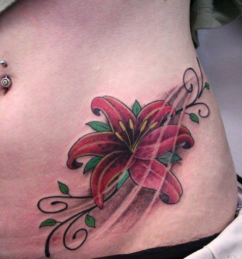 Flower Hip Tattoo Design