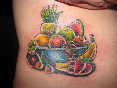 Fruits In Basket Tattoo On Rib Cage