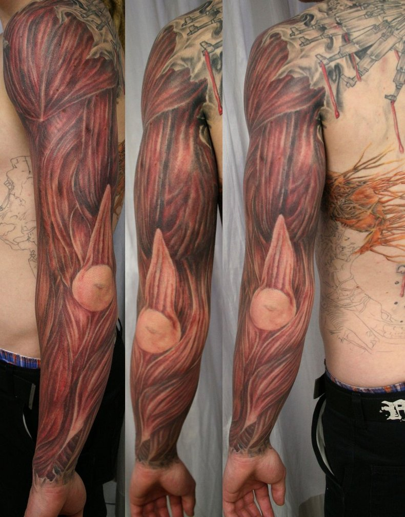 Full Sleeve Muscles Tattoo For Men