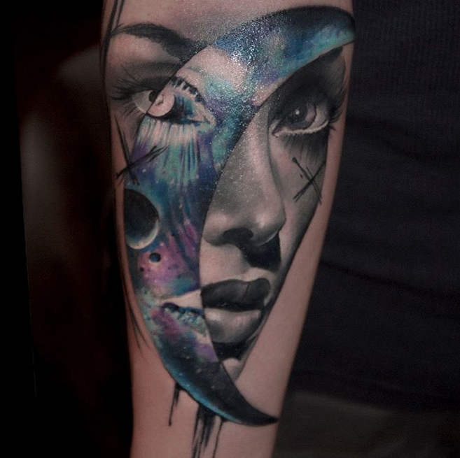 Girl Face And Moon Tattoo By Pawel Skarbowski