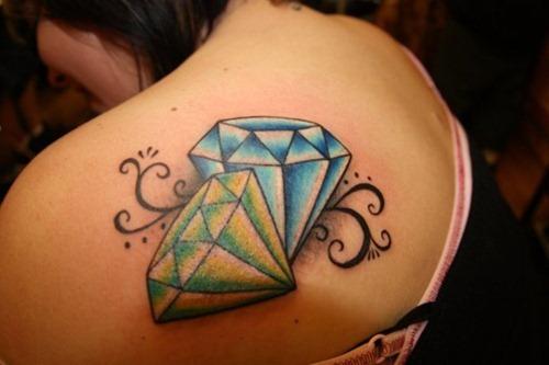 Green And Blue Diamond Tattoos Designs