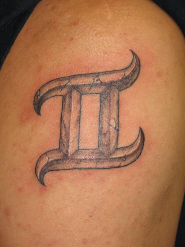 Grey Gemini Tattoo Zodiac Sign On Shoulder