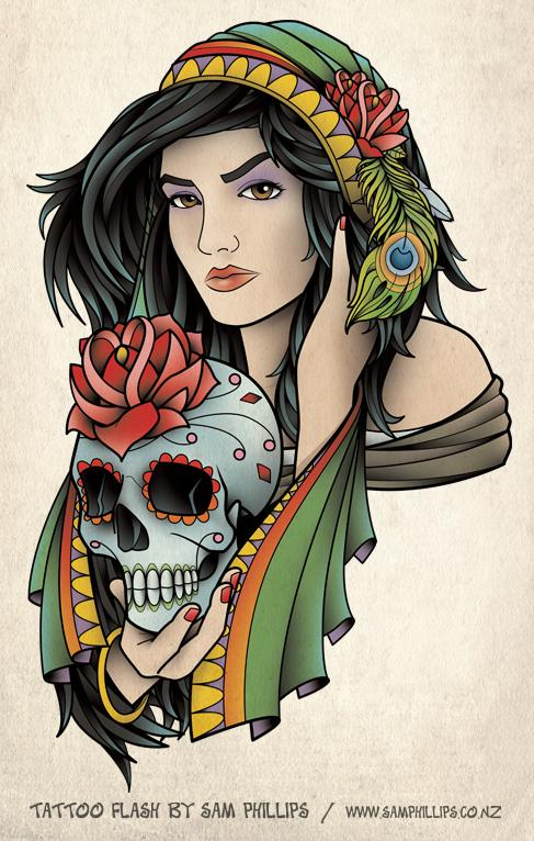 Gypsy Girl With Sugar Skull Tattoo Design Sample