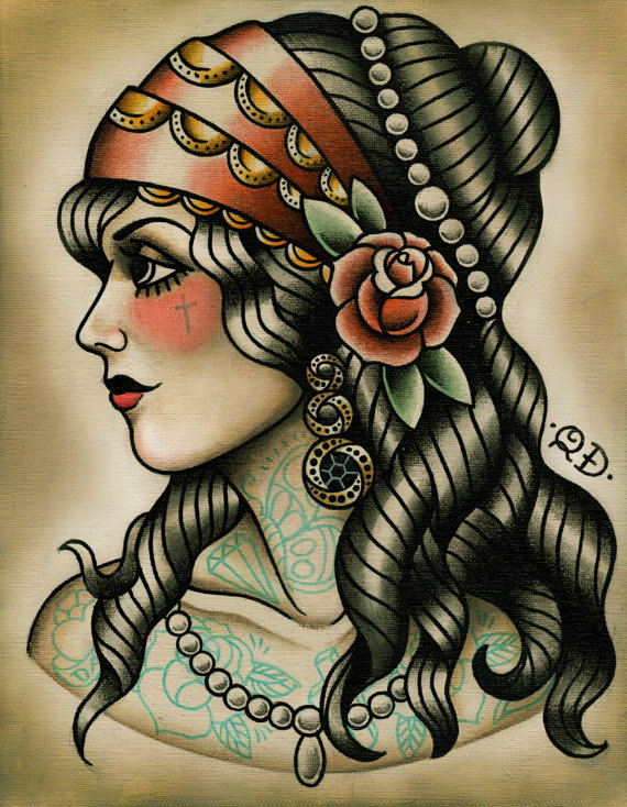 Gypsy Tattoo Design Flash