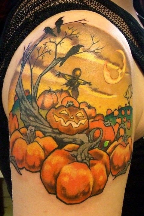 Halloween Pumpkin Tattoo Design For Girls