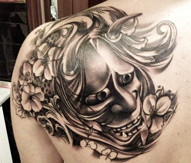 Hanya Mask Tattoo On Shoulder By Eze Nunez