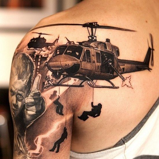 Helicopters Army Tattoo On Left Shoulder