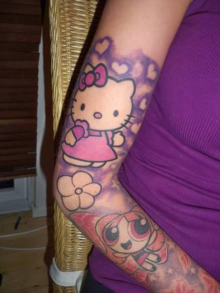 Hello Kitty And Power Puff Cartoon Tattoos On Sleeve