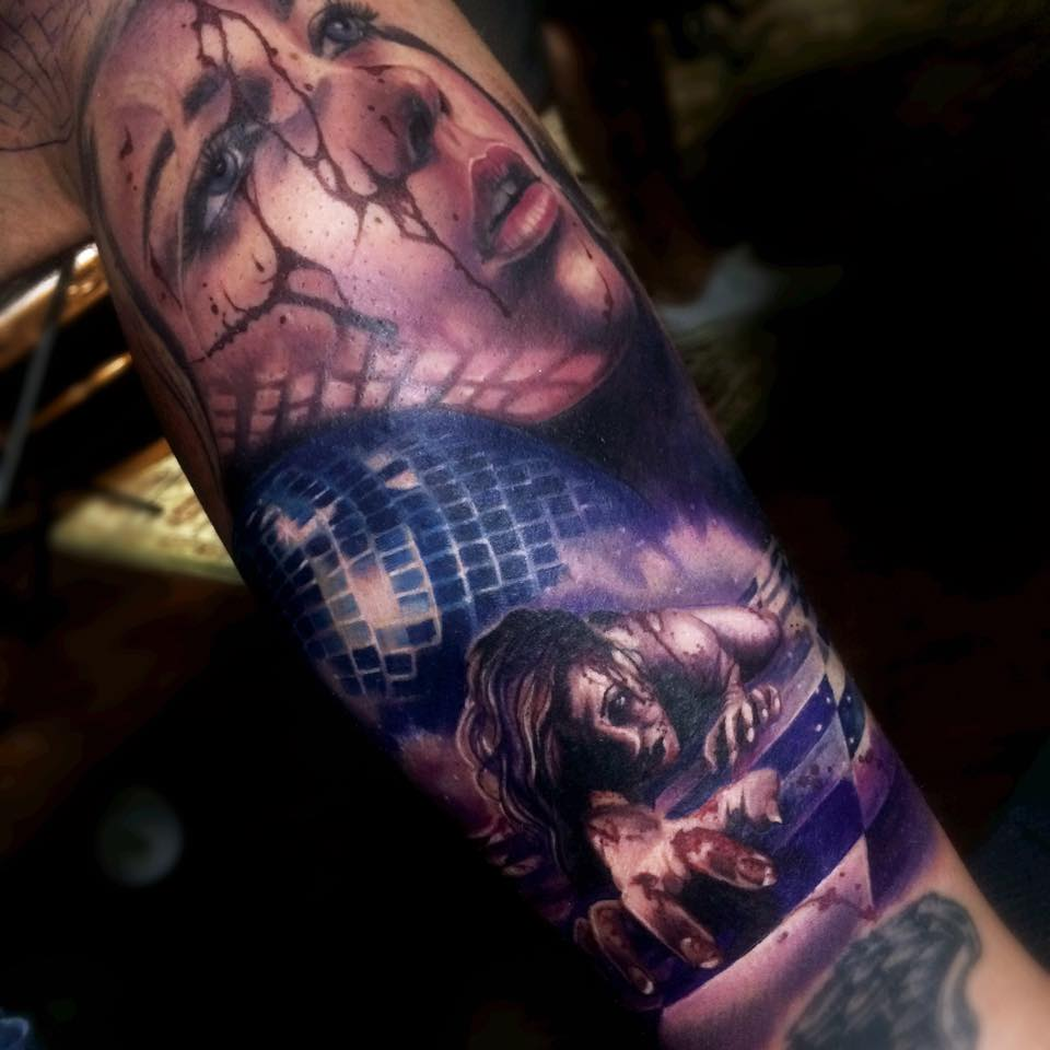 Horror Tattoo On Leg By Samantha Barber