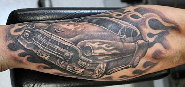 Hot Rod Car Tattoo With Flames On Arm