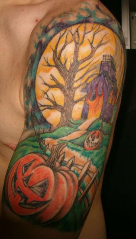 House On Fire Halloween Tattoo For Men