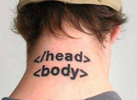 Html Body Tags Geek Tattoo On Nape