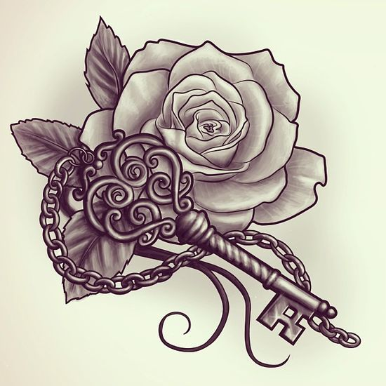 Key And Rose Tattoo Design Idea