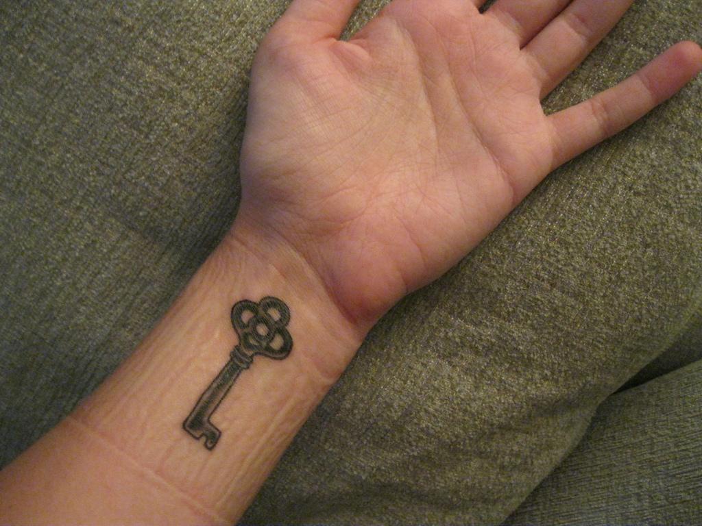 Key Tattoo On Left Wrist