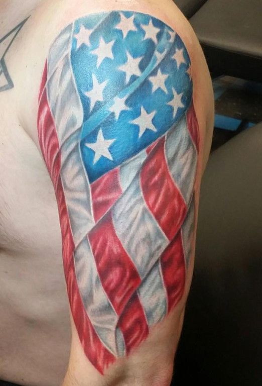 Left Sleeve Flag Tattoo For Guys