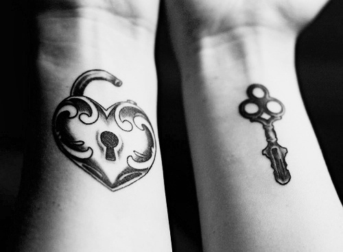 Lock Heart And Key Matching Couple Tattoos