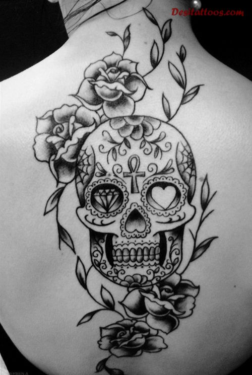 Mexican Skull Tattoo Design On Back For Girls